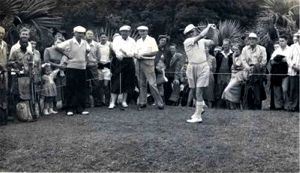 Fourball from left to right: Ron Burd, Bobby Locke, Eric Marshall and swinging is Bertie Brown.